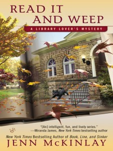 bookcover: Read It and Weep image of a brick library in the autumn, with a black dog running down the front steps of the building