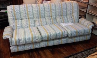 Refurbished retro couch, textured Warwick fabric $2850