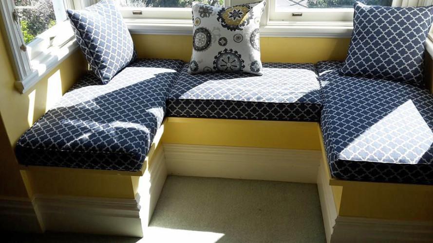 Warwick Bangla Night fabric on window seat squabs