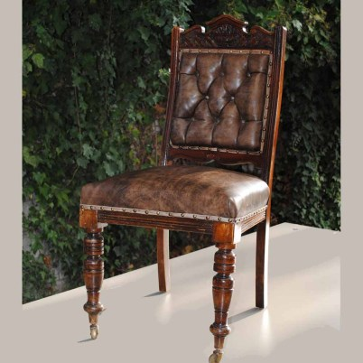 Antique chair, leather seat, restored woodwork $400