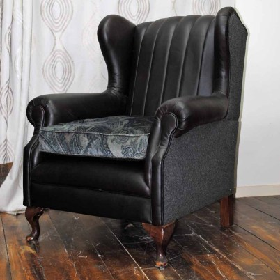 SPECIAL Classic wing chair, totally restored, resprung, felted wool and leather $1900
