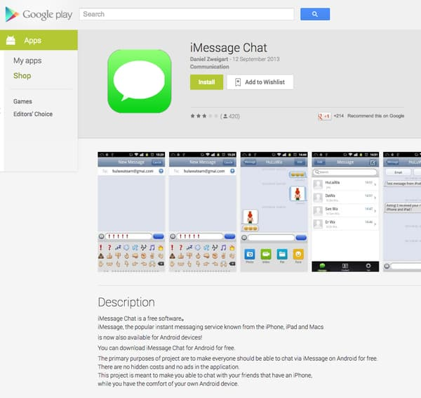 iMessage in the Google Play store