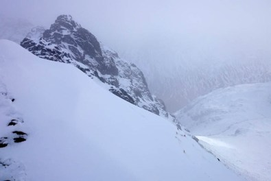 Big banks of fresh snow dumped on Striding Edge