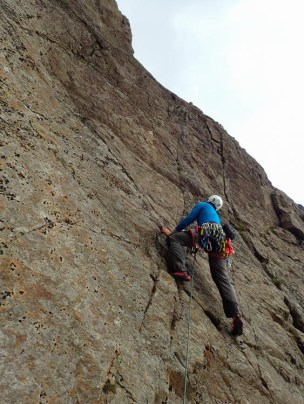 Alan working out the moves on Slabs West Route