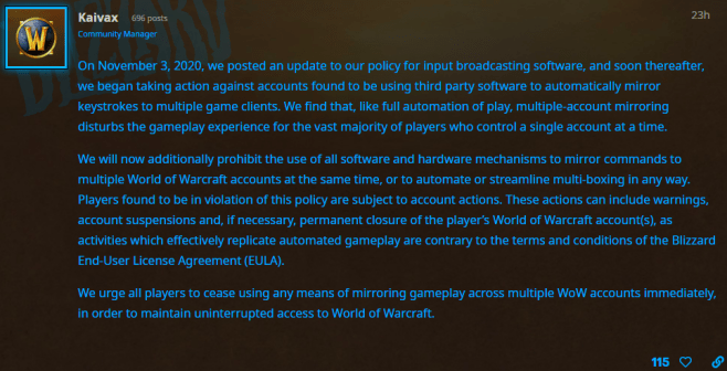Blizzard's Multiboxing Policy Change