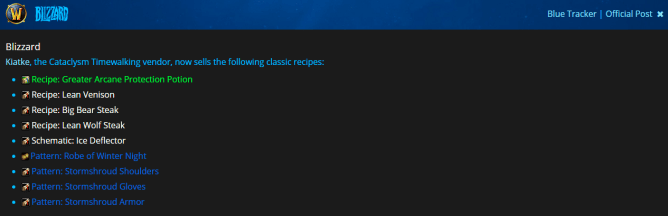 Classic unobtainable recipes obtainable again in Shadowlands 9.1