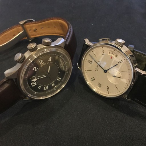 Some of these can be very subtle: My Jaeger-LeCoultre AMVOX and Nomos Tangomat GMT hide their complications in plain sight!