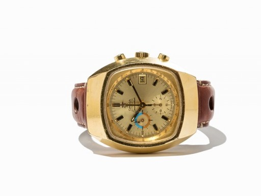 "This is a common (and ugly) gold-plated Omega Seamaster Chronograph not the desirable and rarer ""Jedi"" model"