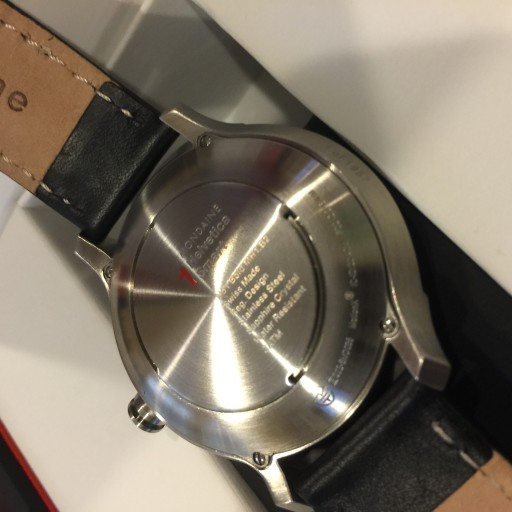 The Mondaine Helvetica case tapers sharply from a porky 44 mm to rest narrowly on the wrist