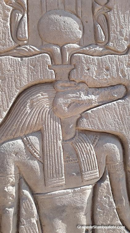 Sobek, dieu égyptien à tête de crocodile, temple de Kôm-Ombo Haute Egypte