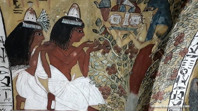 Vallée des Artisans, Louxor Thèbes, Egypte, tombeau de Senedjem, peinture de Senedjem et son épouse