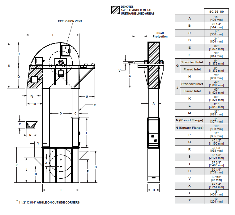 MFS/York 8,000 BPH Bucket Elevator with 12