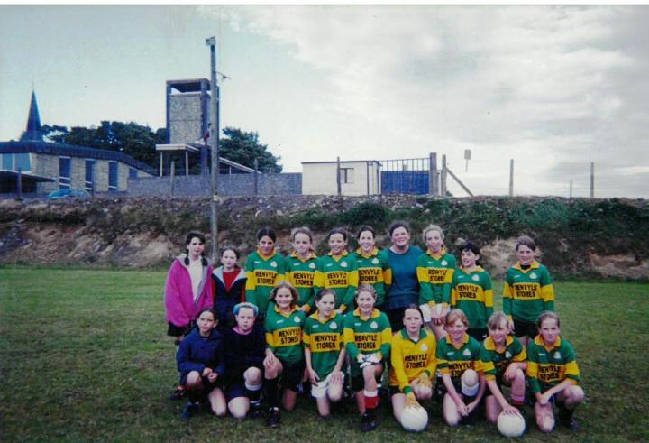 Grainne Mhaols U12 Squad prior to their away match v Killannin; Back Row (l to r) Mary Louise Walsh, Fiona McDermott, Tara Flaherty, Martha Folan, Aisling Kane, Michelle Joyce, Helen Aspell, Leigh Birchmore, Patricia Flaherty and Danielle Lydon. Front Row (l to r) Roisin Clarke, Jessica Kearney, Kim Young, Noreen Coyne, Fionnuala Hannigan-Dunkley, Mary Joyce, Jennifer Heanue, Claire Mullen and Maire Staunton.