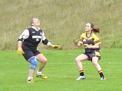All eyes on the dropping ball! Maire Cloherty and her Bornacoola opponent during the 2004 Connacht Junior Championship Semi Final.