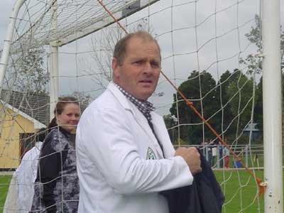 John Francis Flaherty on official umpiring duty at the 2004 Connacht Junior Championship semi final between Grainne Mhaols and Leitrim champions, Bornacoola.