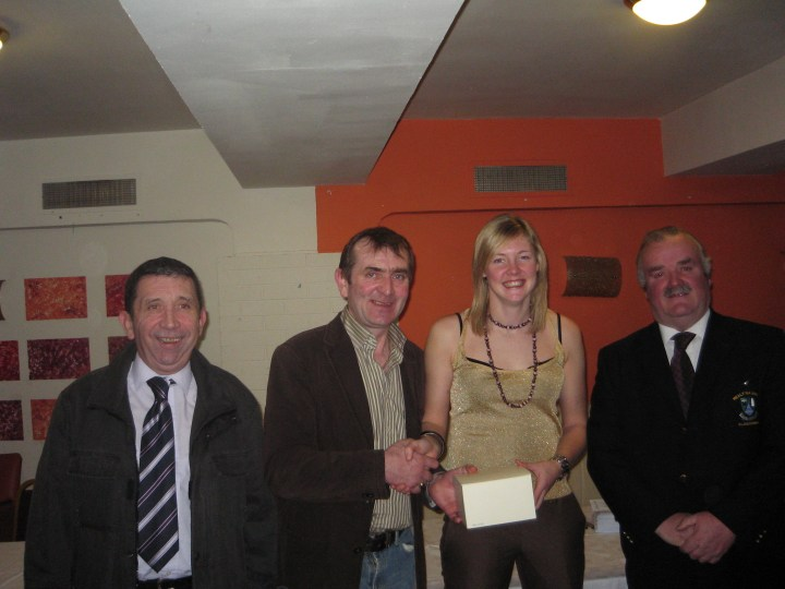 2007 Brian McEniff Annual Ladies Football Tournament Player Of The Tournament Award Ceremony.   (L to R):  John Craughan (Official Referee), Pat Walsh (Official Referee), Lisa Coohil (Recipient)l and Michael McMahon, Chairperson of Réalt na Mara Bundoran GAA Club.