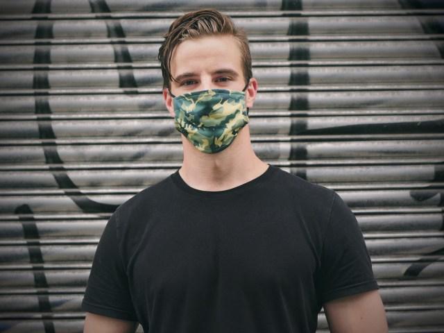 Man wearing a custom facemask