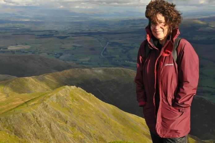 Rosalind Plowright on top of Blencathra in the English Lake District