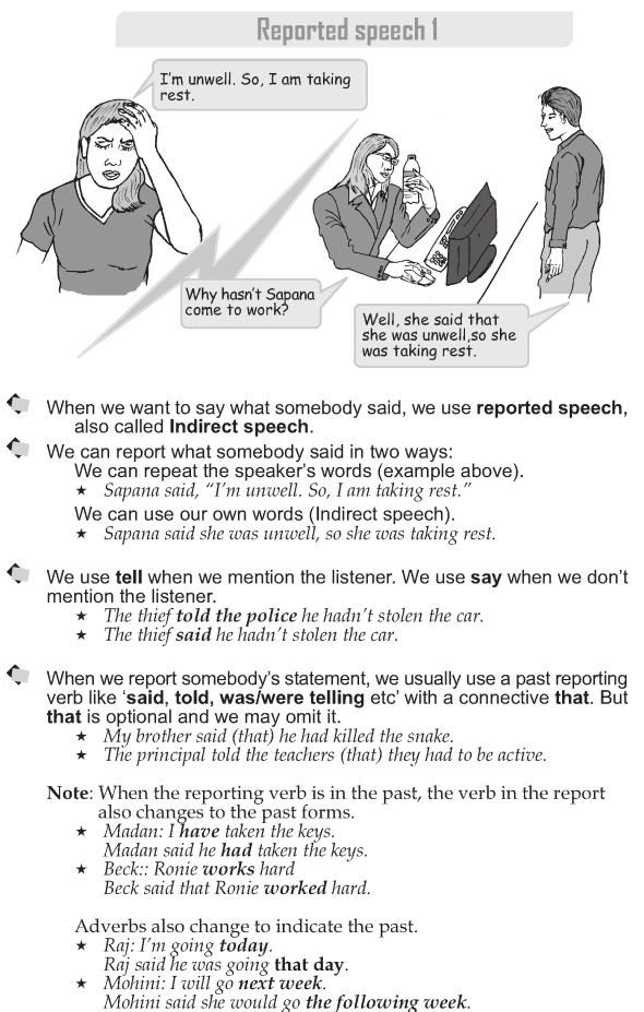 Grammar » Grade 9 Grammar Lesson 39 Reported speech 1