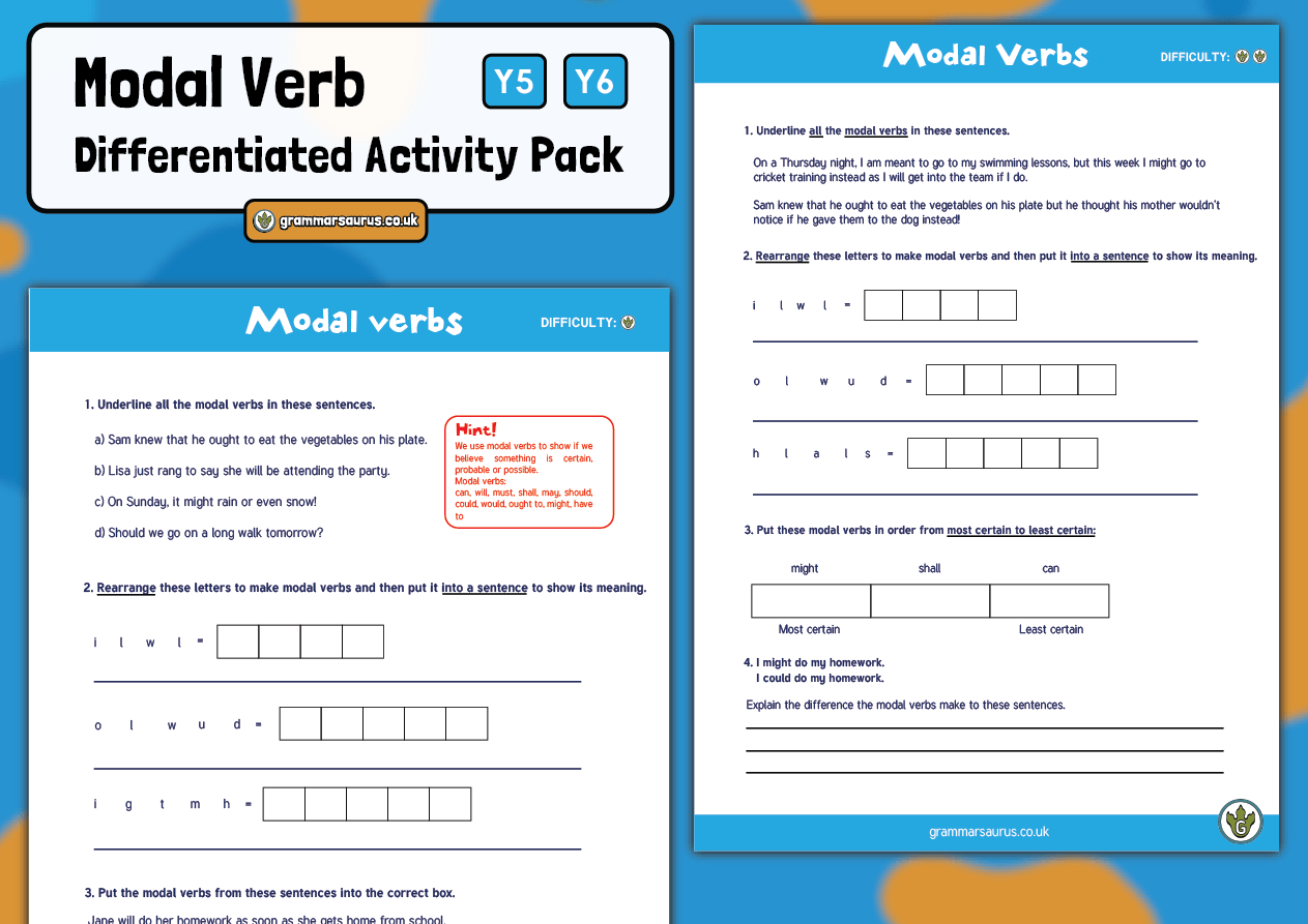 Year 5 6 Modal Verb Pack