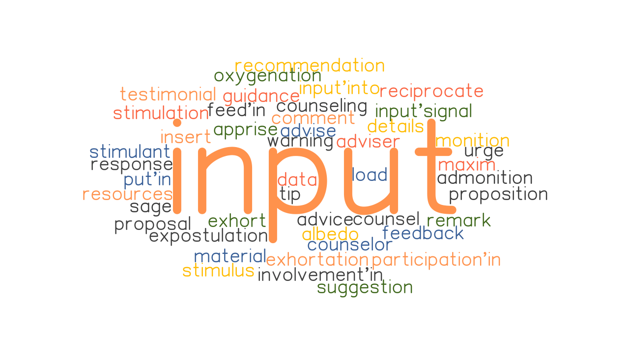 INPUT: Synonyms and Related Words. What is Another Word for INPUT? - GrammarTOP.com