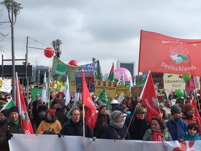 Demonstranten bei der Demo am 20.1.18 für die Agrarwende - wir haben es satt