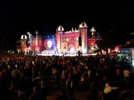 Santa Catalina stage at night