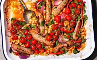Bean and sausage bake