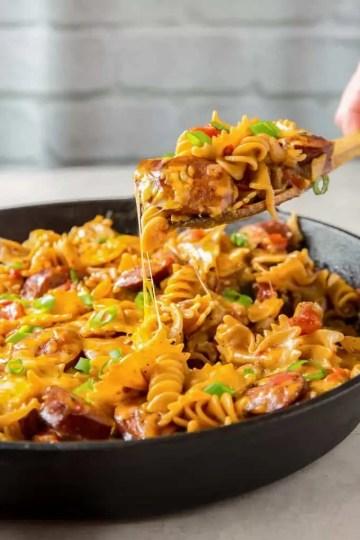 easy cheesy sausage pasta