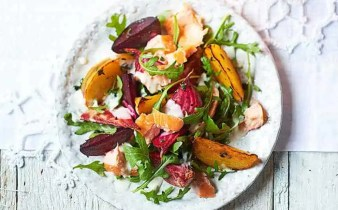 smoked salmon and roasted beetroot salad