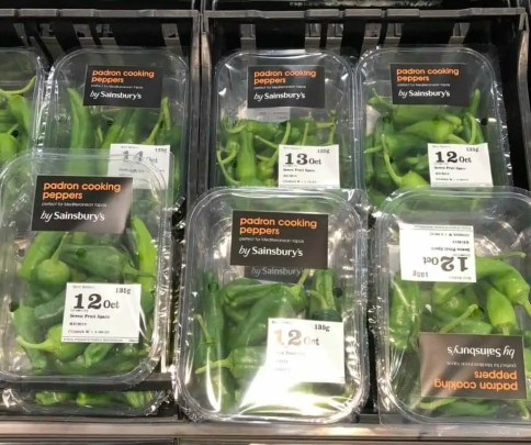 padron peppers on supermarket shelf