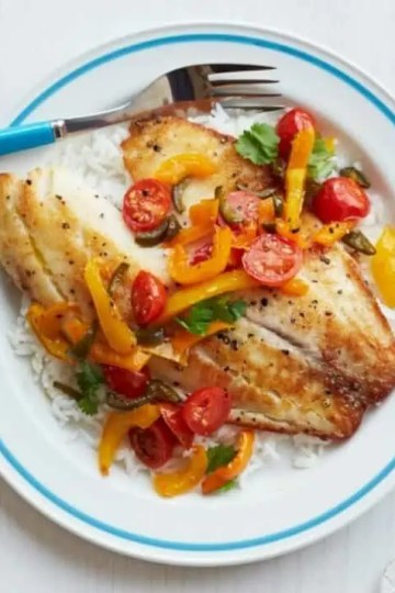 peri-peri mackerel with tomatoes and peppers