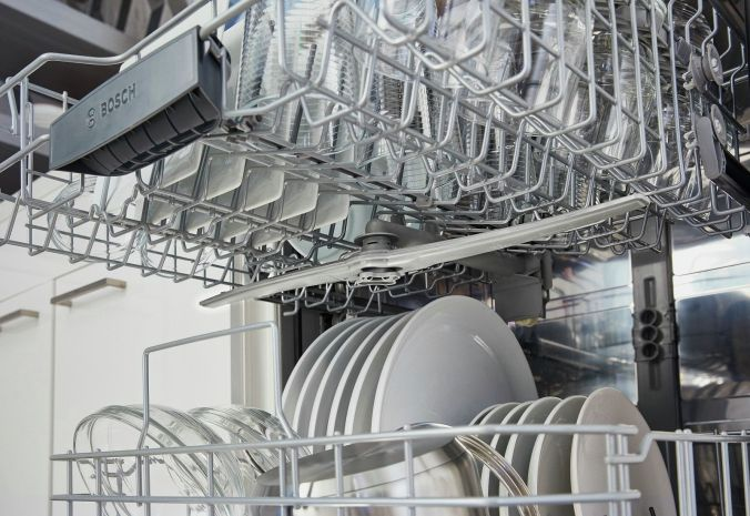 Stainless steel interior of a Bosch dishwasher. Photo courtesy of Bosch Home Appliance (www.bosch-home.com)