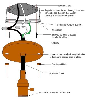 Pendant Wire Canopy Diagram – Grand Brass Lamp Parts, LLC