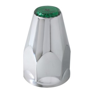 Chrome Plastic 33 mm Screw-On with Green Reflector Lug Cover