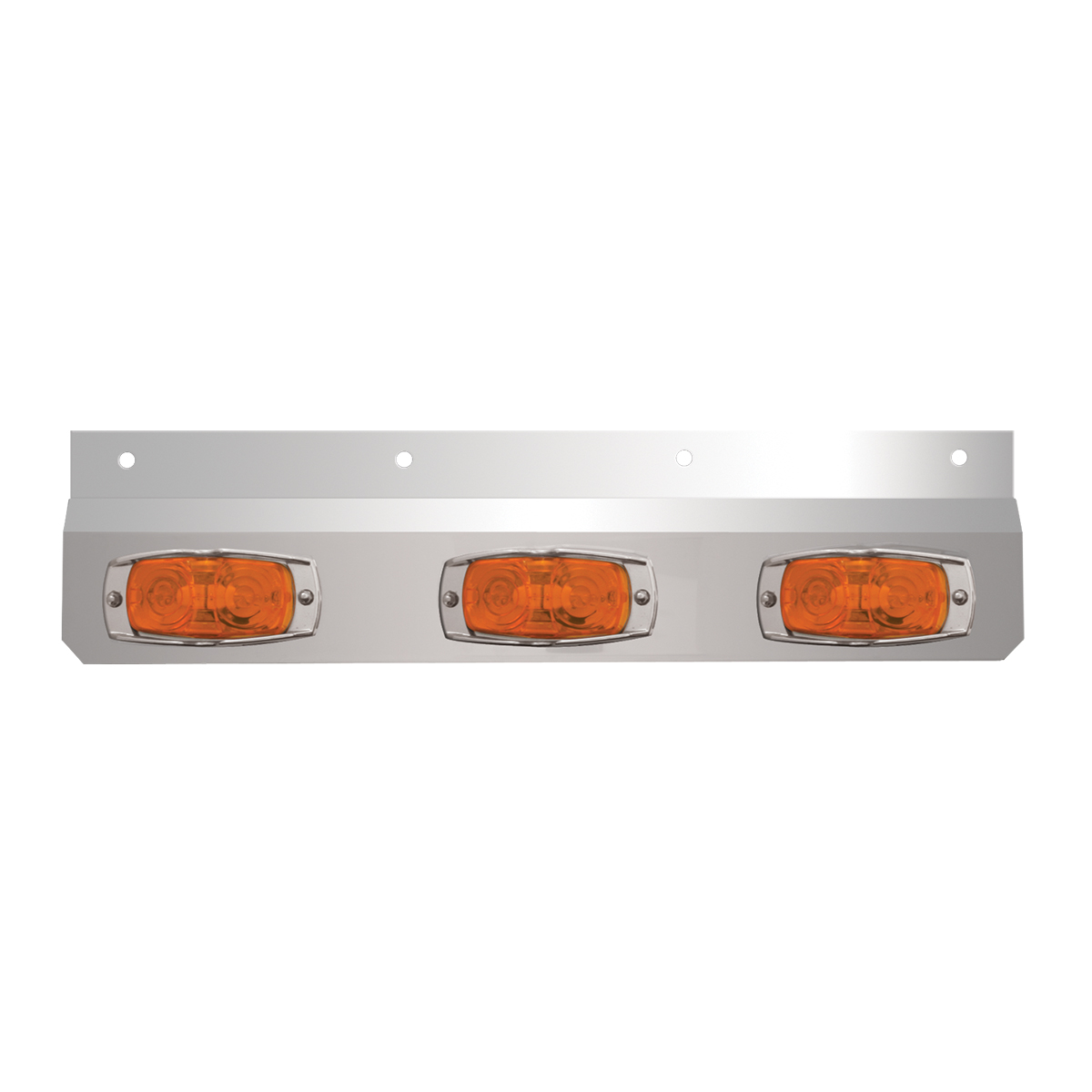 #30641 Stainless Steel Lighted Top Plate with Cat-Eye Lights - Amber