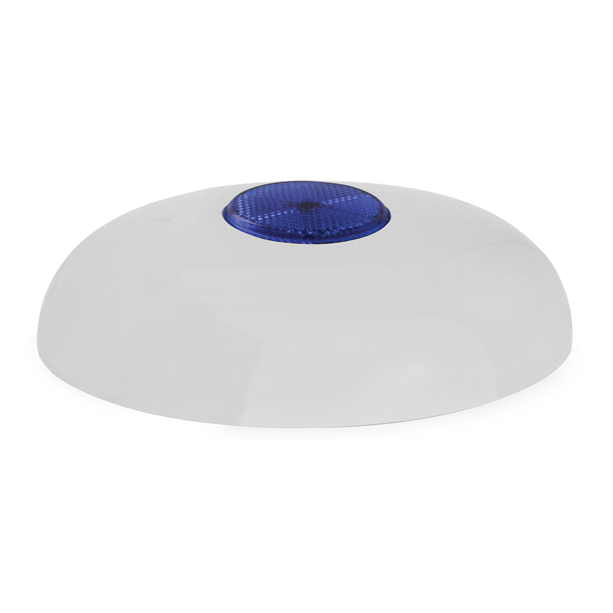 Chrome Plated Steel Horn Cover with Blue Reflector on Center