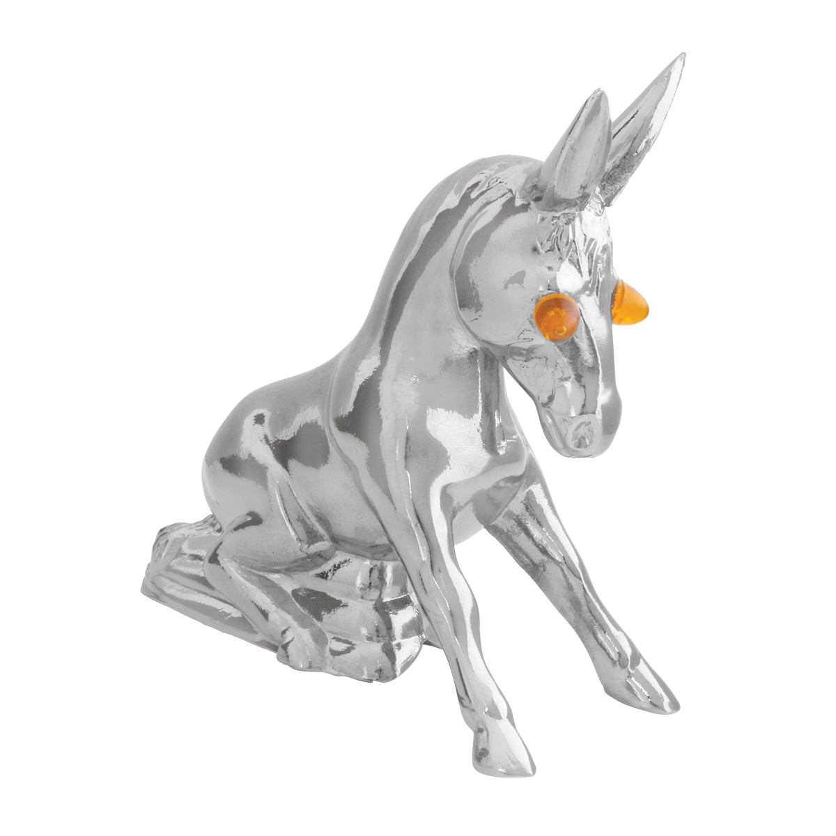 Chrome Die Cast Novelty Donkey w/Illuminated Eyes – Eyes Unlit