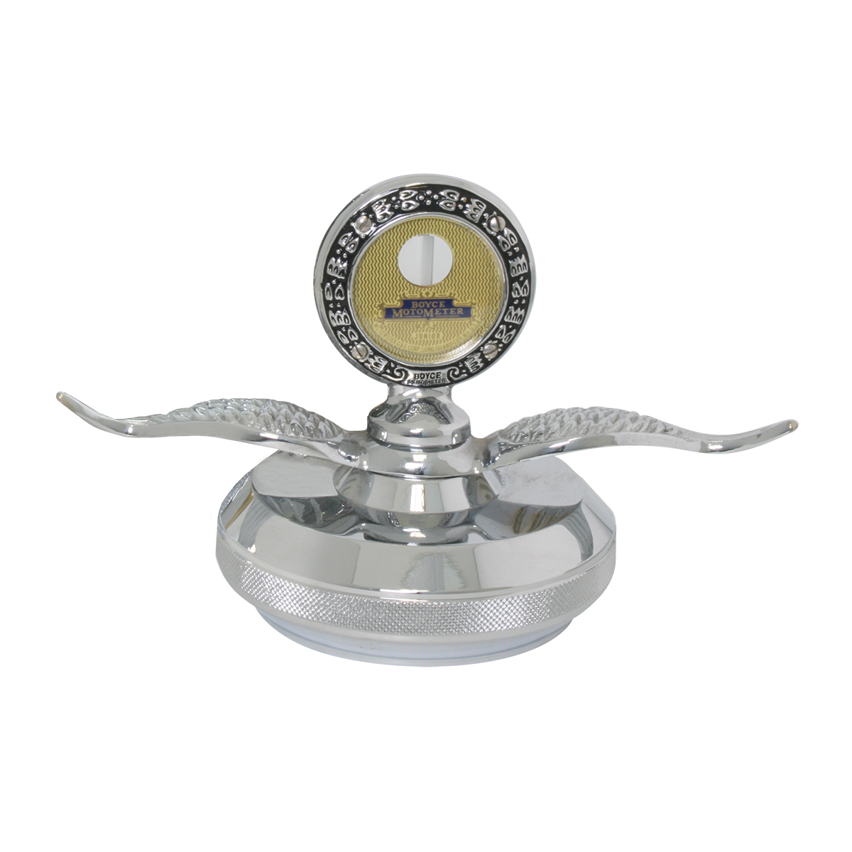 Small Chrome Motometer with Chrome Die Cast Base Hood Ornament