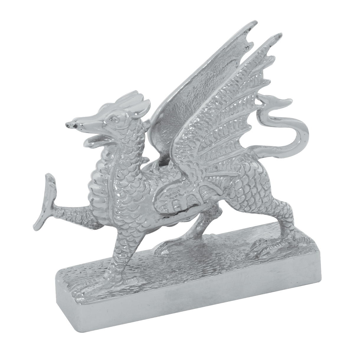 Chrome Die Cast Flying Dragon Hood Ornament