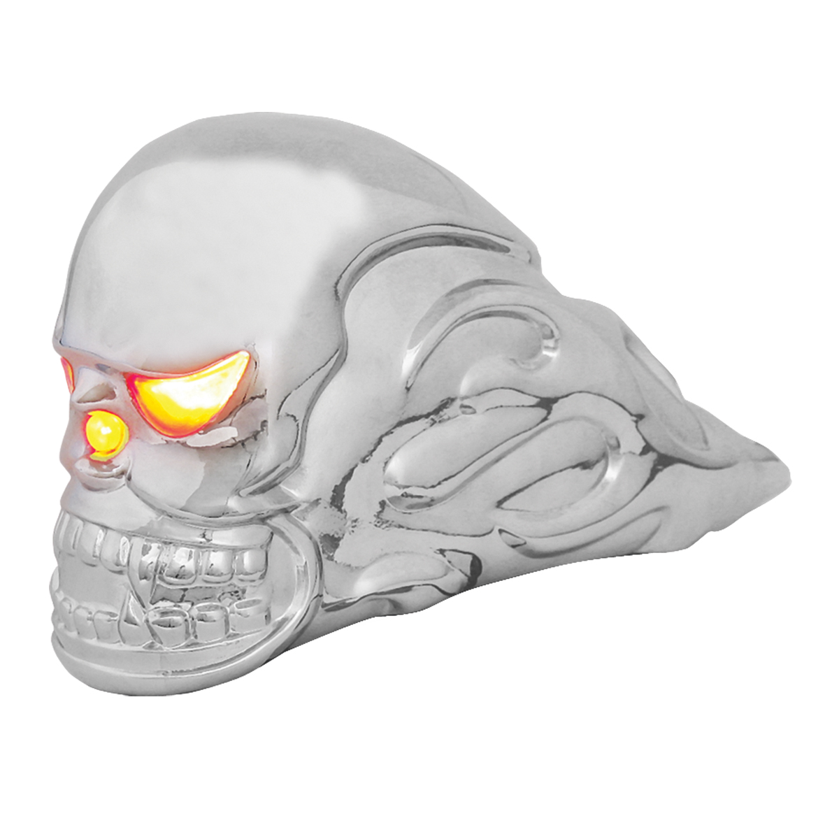 Chrome Die Cast Illuminated Flame Skull Hood Ornament
