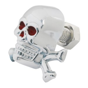 Chrome Die Cast Red Eye Skull w/Bones License Plate Fastener Set - Side View