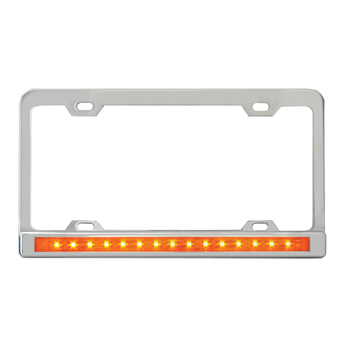"Chrome Plated Steel 4 Holes License Plate Frame with 12"" LED Amber/Amber"