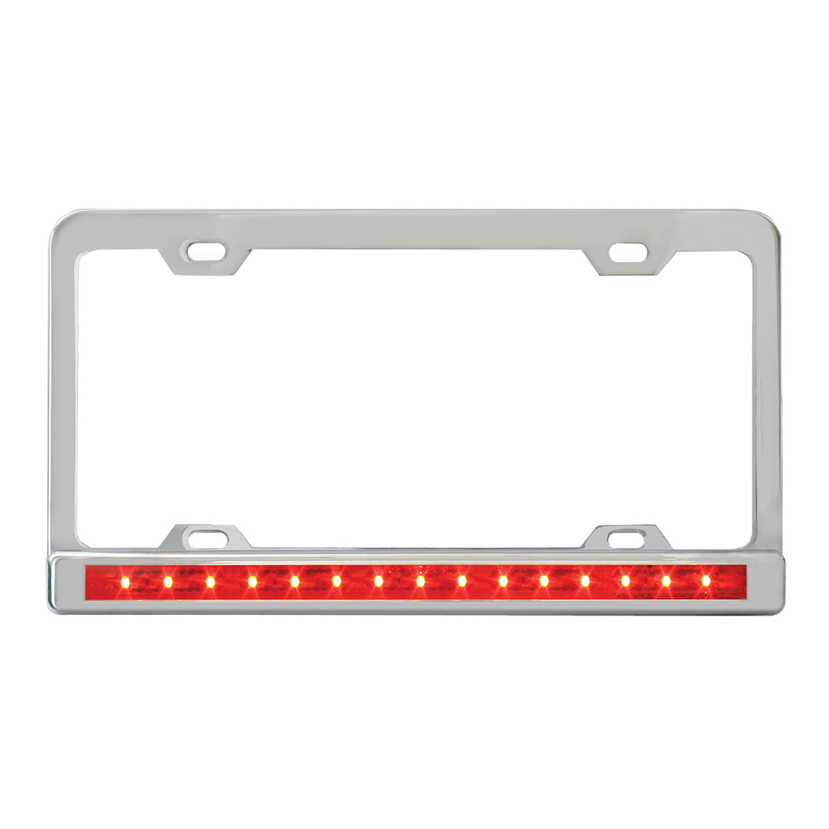 "Chrome Plated Steel 4 Holes License Plate Frame with 12"" LED Red/Red"