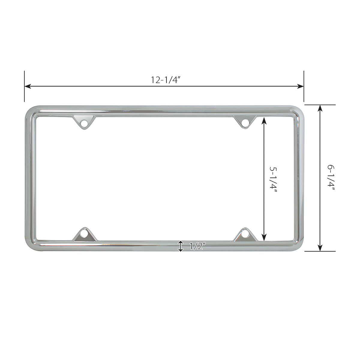 60061 Economic Chrome Zinc Classic 4-Hole License Plate Frames - Measurements