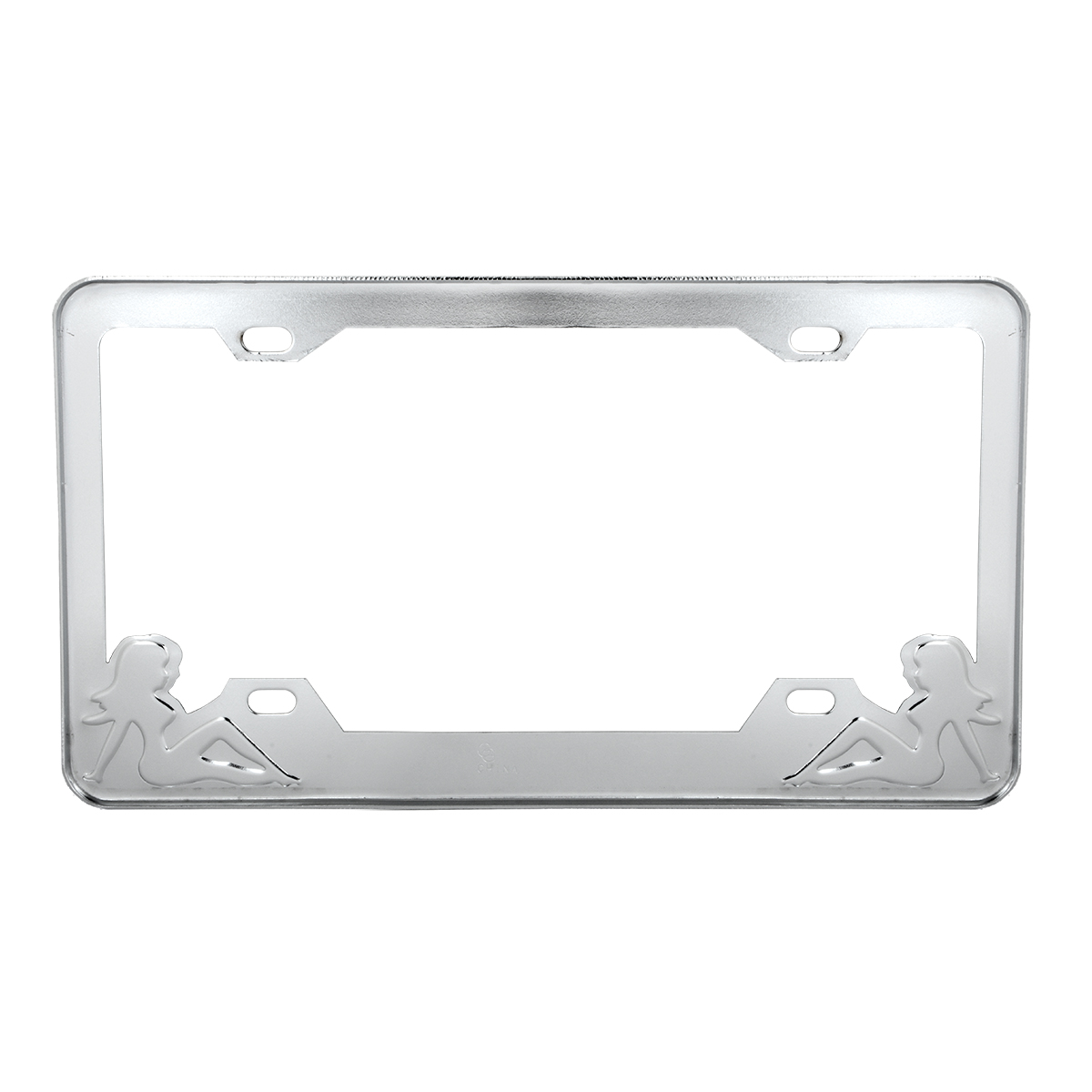 Chrome Plated Steel License Plate Frame with Black ColorSitting Ladies - Back View