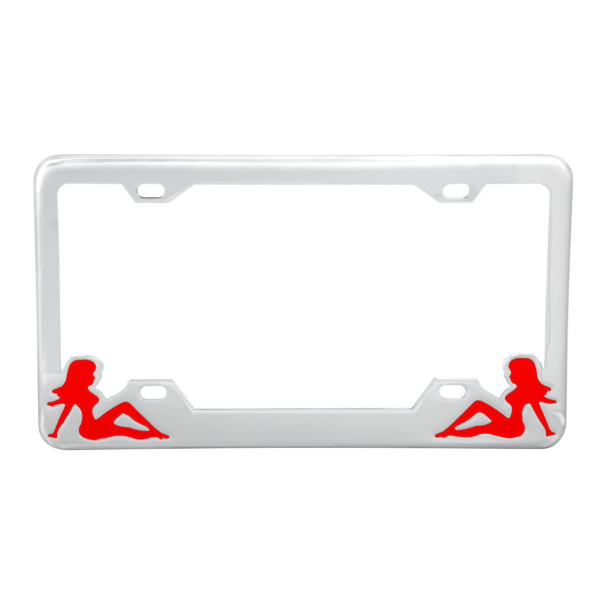 Chrome Plated Steel License Plate Frame with Red Color Sitting Ladies