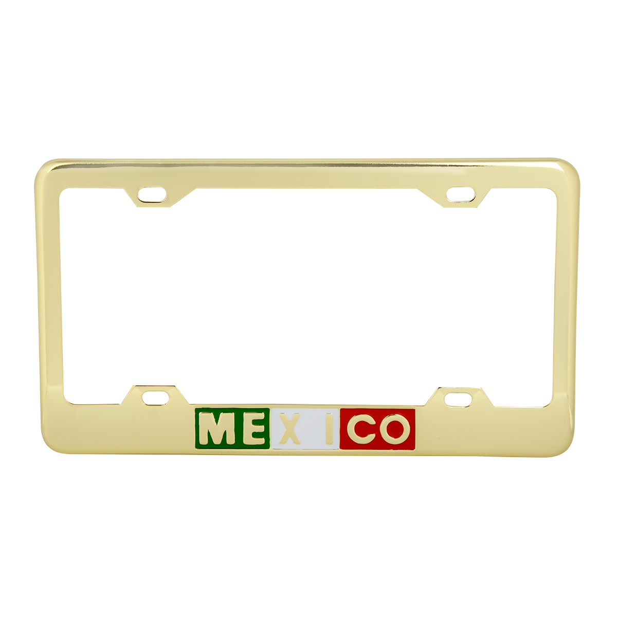 60211 Brass-Plated (Gold Color ) Mexico License Plate Frame - 4 Holes