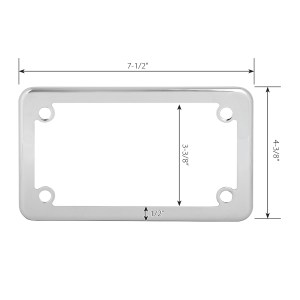 Chrome Plated Steel Plain Motorcycle License Plate Frame - 4 Holes Measurements