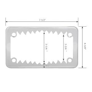 Chrome Plated Steel Shark Teeth Motorcycle License Plate Frame - 4 Holes Measurements